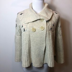 Anthropologie knit floral beige cardigan small